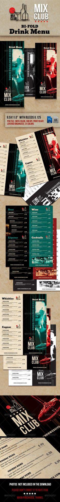 Lounge Bar Drink Menu Bundle Menu, Drink menu and Bar - drinks menu template