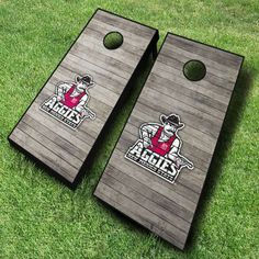 These distressed wood style New Mexico State Aggies cornhole boards are great for displaying collegiate pride at tailgates, cookouts, and...