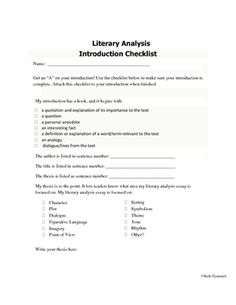 introduction checklist for literary analysis essays from educator introduction checklist for literary analysis essays from educator helper on teachersnotebook com 1