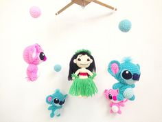 Baby Mobile, Lilo and Stitch with Angel crib mobile, Amigurumi baby mobile, Nursery decor, crochet mobile, Handmade baby mobile, Baby Gift by IvoryTreeHouse on Etsy https://www.etsy.com/listing/263513187/baby-mobile-lilo-and-stitch-with-angel
