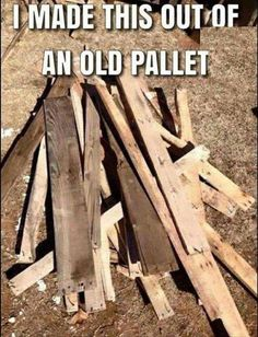 Easy DIY pallet project for those who are fed up with freakin pallet projects - Add fire and you are done!