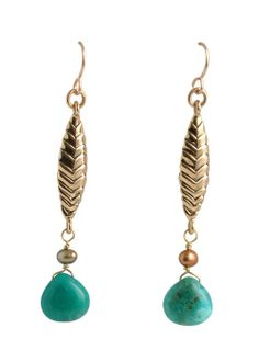 Bronze Wave Turquoise Earring