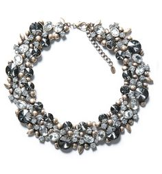Pin for Later: 10 Pieces of Zara Jewelry That Will Make Your Jaw Drop  Zara gray rhinestone and silver flower necklace ($50)