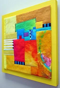 "Hotcakes, 12"" square, silk, hand dyed cottons, fused, machine quilted and mounted on painted wood panel."