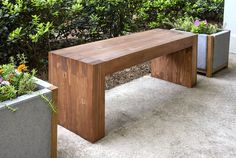 Modern DIY Outdoor Bench - $35 in supplies, easy to cut, easy to assemble, no nails or screws required
