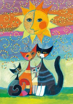 Folk Art cats painting idea, so cute! Rosina  Wachtmeister famille