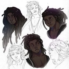 Fantasting Drawing Hairstyles For Characters Ideas. Amazing Drawing Hairstyles For Characters Ideas. Character Creation, Character Concept, Character Art, Concept Art, Black Anime Characters, Fantasy Characters, Arte Black, Hair Reference, Afro Art