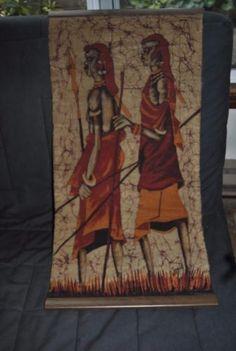 MAASAI-African-Wax-Batik-tribal-warriors-wall-hanging-with-wooden-ends