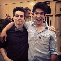 Dylan O'Brien (Stiles) and Tyler Posey (Scott) on the set of Teen Wolf.