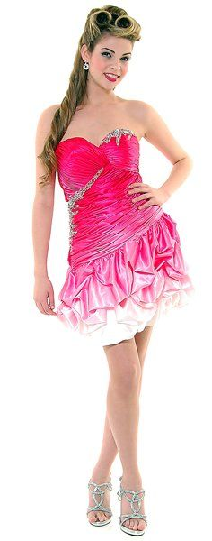 Short Hot Pink Ombre Cocktail Prom Dress Strapless Sweetheart Ruched $79.99