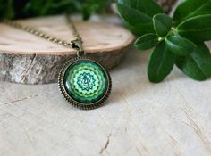 Anahata Chakra Necklace Antique Bronze Pendant Glass by ArtHarmony