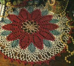 Magnificent Christmas Poinsettia Crochet Doily ~ free pattern. This would be pretty framed.