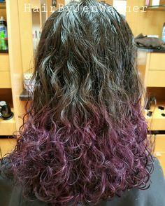 HairByJenWarner, purple dip dye, curls, purple hair, for appointments contact Jen at Fantastic Sams Polaris 614-985-1677