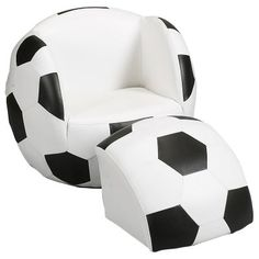 This Soccer Ball Chair with Ottoman is ideal for any young soccer player's room or play area. This novel chair offers a fun and innovative design that's doesn't skimp on comfort. A cushioned seat with easy-to-clean vinyl upholstery provides the perfect place to relax with a favorite book. Plus you're little one will enjoy kicking back on the included ottoman. When not in use the wedge ottoman fits neatly into the seat of the chair completing the soccer ball design.