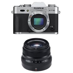 Fujifilm X-T10 Body Silver Mirrorless Digital Camera   XF35mm F2 Black Lens >>> More info could be found at the image url.