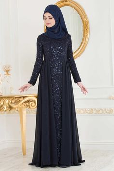 The perfect addition to any Muslimah outfit, shop Muslim fashion Nayla Collection - Navy Blue Evening Dress Find more Dresses at Tesetturisland! Hijab Evening Dress, Hijab Dress Party, Blue Evening Dresses, Muslim Wedding Dresses, Muslim Dress, Blue Wedding Dresses, Abaya Fashion, Muslim Fashion, Dress With Cardigan