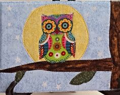 Owl and Moon Quilted Fabric Postcard, Big Moon and Owl mini Quilt, Owl fiber art, Hoot owl Card, Cololful Owl, Owl in Tree, Owl Greeting