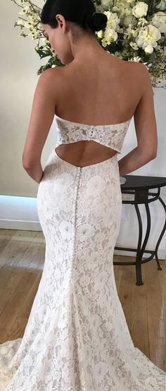 MARIANA floral fit-to-flare strapless  lace wedding dress #bohowedding #laceweddingdress