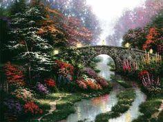 "Still water bridge Thomas kinkade Art prints  canvas 12X16"" free shipping"