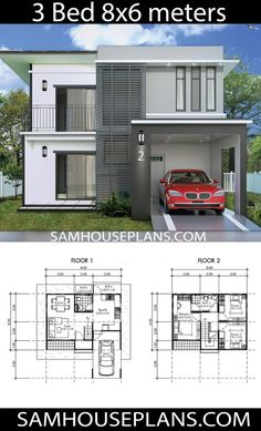 House Plans Idea with 3 Bedrooms - Sam House Plans Small Modern House Plans, Modern Small House Design, Small House Floor Plans, My House Plans, House Layout Plans, Simple House Design, House Layouts, 2 Storey House Design, Bungalow House Design