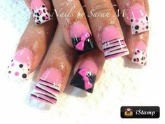 Pink and black different nail art on each finger, zebra and leopard print, wide/duck/flare acrylic nails Get Nails, Fancy Nails, Love Nails, Acrylic Nail Designs, Nail Art Designs, Acrylic Nails, Acrylics, Fabulous Nails, Gorgeous Nails