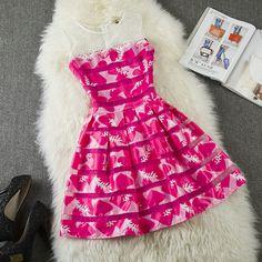 Embroidered lace stitching dress