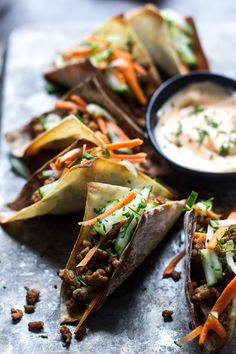 Mini Banh Mi Wonton Tacos - Cooking for Keeps Asian Tacos, Wonton Tacos, Asian Recipes, Ethnic Recipes, Asian Foods, Taco Ingredients, I Chef, Wonton Wrappers, Pork Dishes