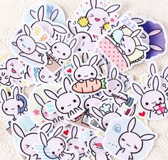Kawaii Japanese Rabbit Stickers from Kawaii Pen Shop. Kawaii Pens, Kawaii Bunny, Kawaii Art, Cute Bunny, Kawaii Stuff, Kawaii Shop, Stickers Cool, Kawaii Stickers, Japanese Stationery