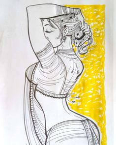 Indian Women Painting, Indian Art Paintings, Pencil Art Drawings, Art Sketches, Indian Art Gallery, Sexy Painting, Comic Art Girls, Madhubani Painting, India Art