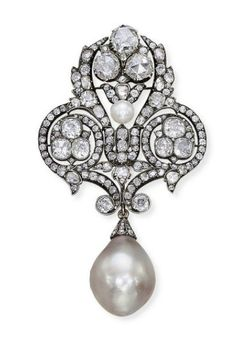 AN EXCEPTIONAL ANTIQUE NATURAL PEARL AND DIAMOND BROOCH  circa 1880