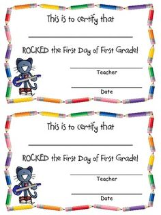 Rocking the First Day of FIRST GRADE Certificate FREEBIE!