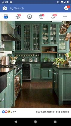 Tired of all white kitchens? Then this post is for you! Green kitchen cabinets are trending right now! Enjoy the inspiration of these Gorgeous Green Kitchen Cabinets.An all-white kitchen i Kitchen Ikea, New Kitchen, Kitchen Dining, Kitchen Decor, Awesome Kitchen, Basic Kitchen, Kitchen Interior, Kitchen Layout, Happy Kitchen