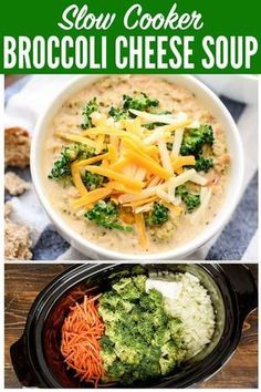 Easy and healthy recipe for Slow Cooker Broccoli Cheese Soup! It's better than Panera's broccoli and cheese soup, because this a crock pot recipe! #slowcooker #soup #recipe #crockpot #healthy via @wellplated