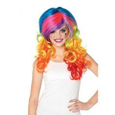 Regenboog kleuren bij warenhuis Trendmax, Regenboog rockers pruik,colored,curly,fel,felle,gekleurd,gekleurde,gekrulde,krul,krullen,krulletjes,multi-color,neon