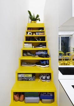 Under Stair Storage Ideas for Small Living Spaces   This is the storage solution if you feel like closet space in the bedroom or rest of your home isn't enough. Your stairs can become the closet you need for clothes storage and more.