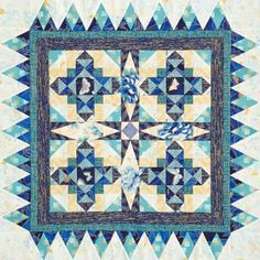 ❤ =^..^= ❤   Quilting Color Trend: Teal | AllPeopleQuilt.com |  Brimming with Blues  Blues and teals are the stars of this wall hanging. To add subtle interest to the finished project, choose several fabrics with the same hue.