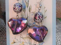 Heart earrings Lavener pearl earrings Wedding by BEEBSCLOSET