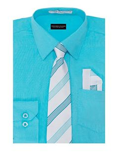 6fcc3eefe Aslanian Boys Solid Color Cotton Blend Woven Long Sleeve Dress Shirt with  Tie