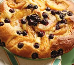 Blueberry Peach Custard Kuchen - this recipe work better with frozen berries and canned peach - a winter treat then..