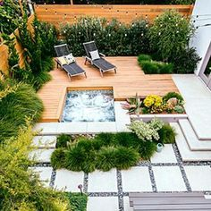Small space outdoor patio and low-water plants
