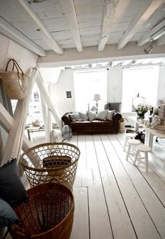I love painted floors and painted unfinished ceilings especially in white.