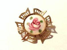 VINTAGE Pink Rose Cloisonne Pin Brooch ROSE Gold by punksrus, $8.50