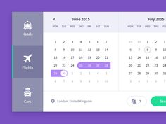Calendar, travel UI freebie by Drasius (Kaunas, Lithuania)