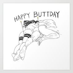 Erotic Nude Male / Men / Girl / Female ----- Happy BUTT day Art Print  ---------- Happy Buttday to you always and forever! Party celebration and birthday wishes! keywords: drawing digital ink/pen pop-art figurative black-&-white love valentines butts valentine heart couple relationship hug birthday nude