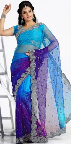 Multicolor #Embroidered #Net #Saree Blouse