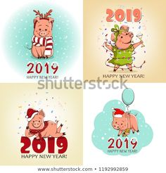Set of cards. Cute little pig in the New Year's image. This animal is the Symbol of the New Year. Happy New Year Banner, Happy New Year 2019, Winter Christmas, Winter Holidays, Kids Bulletin Boards, New Year Illustration, Decopage, Pig Art, New Year Images