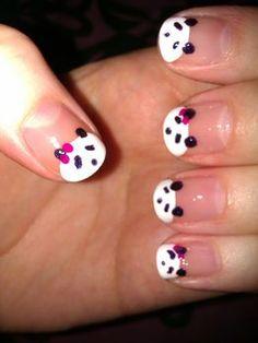 easy panda nails!     So Cute