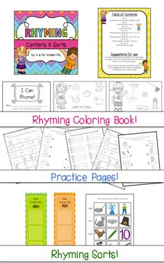 $ Rhyming Centers and Sorts!   I Can Rhyme mini book, 5 practice pages, 10 sorting mats,  rhyming picture sorts & more!