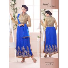 Net Embriodered Blue Partywear Designer DREES