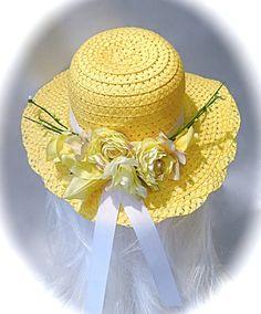 Girl's Tea Party Hat Yellow Sun Bonnet GH-116 by Marcellefinery